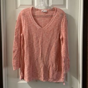 Talbots Pink V neck 3/4 Sleeve Sweater size L